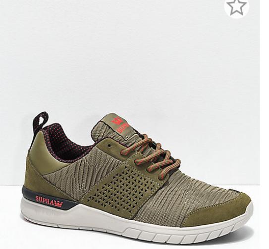 NIB SUPRA Uomo Uomo Uomo Size 9 / Donna 10.5 Scissor Olive & Stone Pleated Shoes EU42.5 a5e3ef