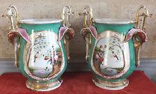 grands vases porcelaine de Paris ancien paire decor oiseau fleurs