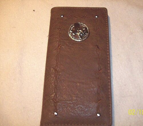 Ladies checkbook holder wallet STATE OF TEXAS with STAR emblem women BROWN Color
