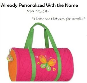 1818e5ff95d9 Image is loading Personalized-Quilted-Butterfly-Embroidered-Duffel-Bag-by- Stephen-