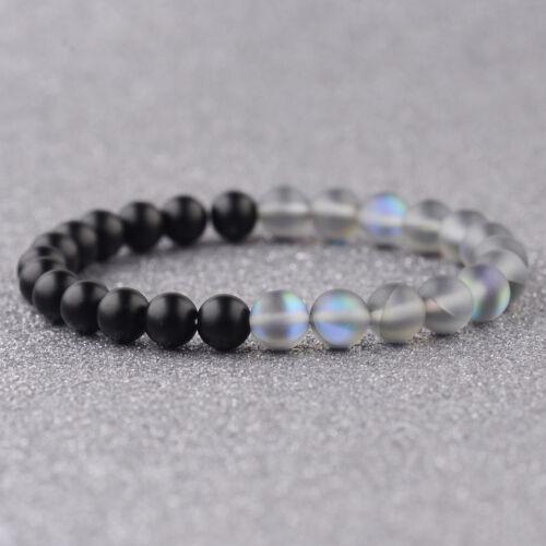 Women Men Matte Black Onyx /& Crystal Quartz Mala Beads Beaded Handmade Bracelets