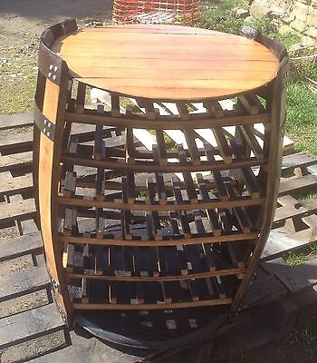 Cheeky Chicks Recycled Solid Oak Whisky Barrel Drinks Cabinet Wine Rack Patio Table Top
