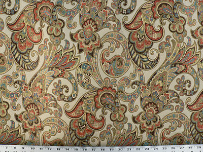 Beige Celery Drapery Upholstery Fabric Woven Jacquard Paisley Floral