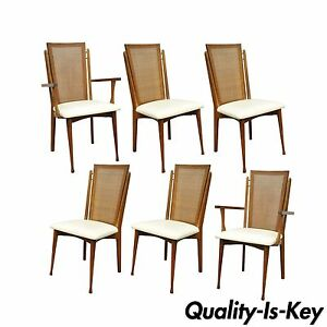Amazing Details About Set 6 Vtg Specialty Woodcraft Mid Century Danish Modern Cane Teak Dining Chairs Andrewgaddart Wooden Chair Designs For Living Room Andrewgaddartcom
