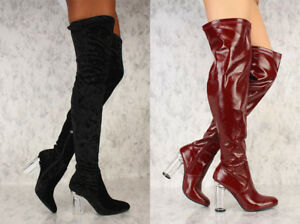 9a59c2c44d9 Black Burgundy Texture Round Toe Thigh High Clear Chunky Heel Boots ...
