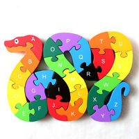 Wooden Block Toys Alphabet & Numbers.building Jigsaw Puzzle. Snake Shape Kids.