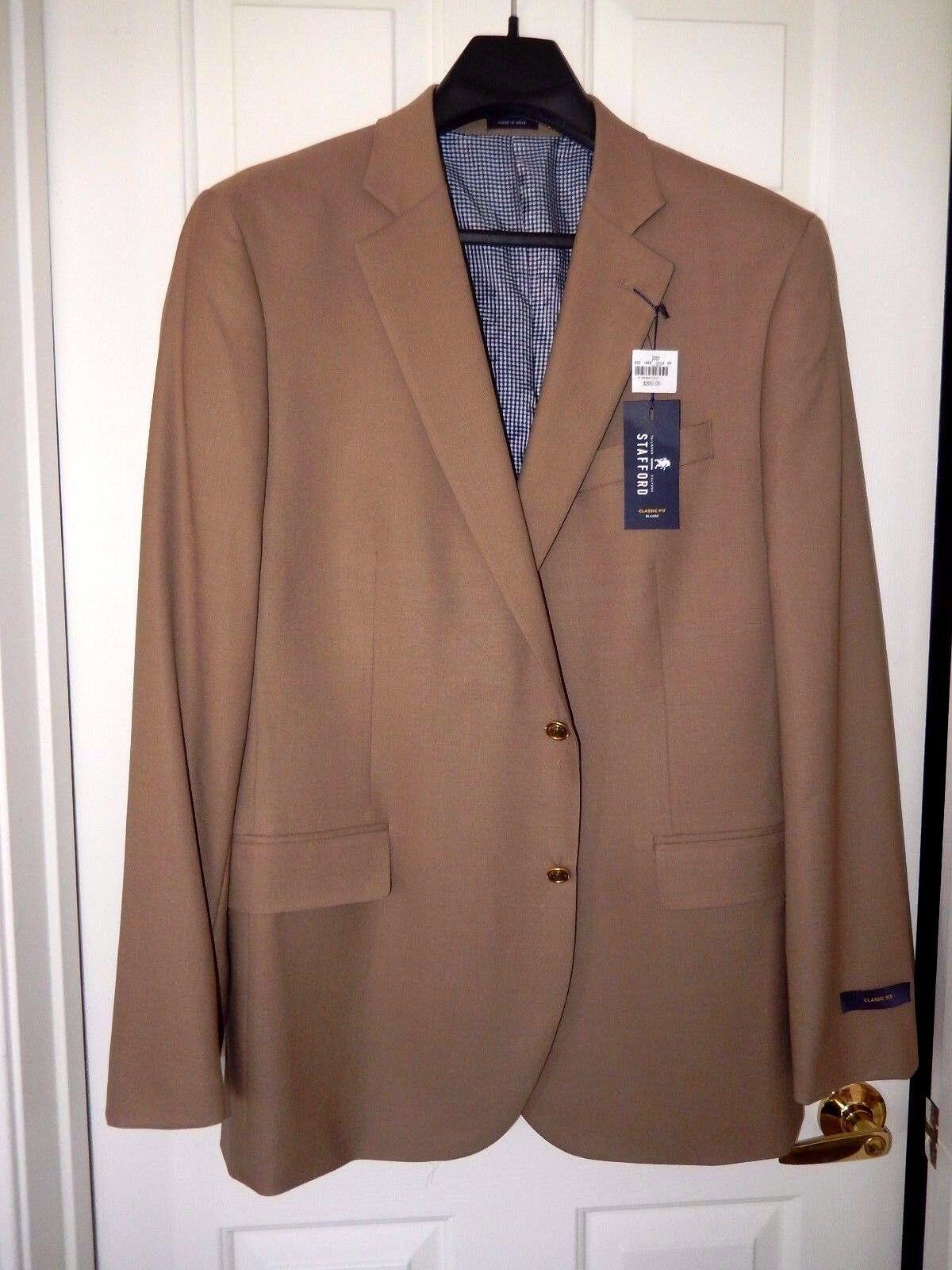 Stafford Classic Fit Wool Blazer--Größe 46 L, tan-NWT 200--Gold logo buttons