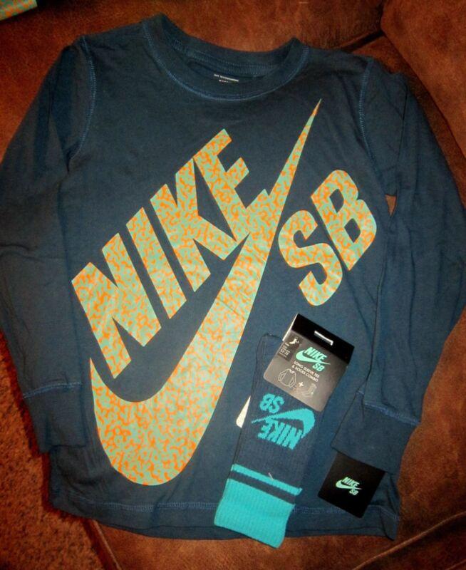 Nike Sb Size Small Blue Long Sleeve Shirt W/ Nike Sb 5-7y Socks