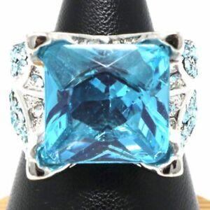Gorgeous-Blue-Aquamarine-Ring-Women-Engagement-Jewelry-Gift-Size-6-to-9-14K-Gold