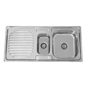 ENKI-KS020-Stainless-Steel-1-5-One-Half-Bowl-Reversible-Inset-Kitchen-Sink-Drain