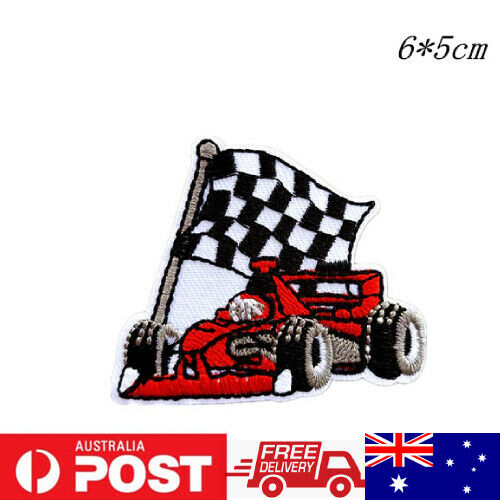 1PC~RACE CAR F-1~IRON ON EMBROIDERED APPLIQUE