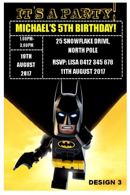 1 X BATMAN SUPERHERO BIRTHDAY PERSONALISED CHILDRENS INVITATIONS FREE MAGNETS