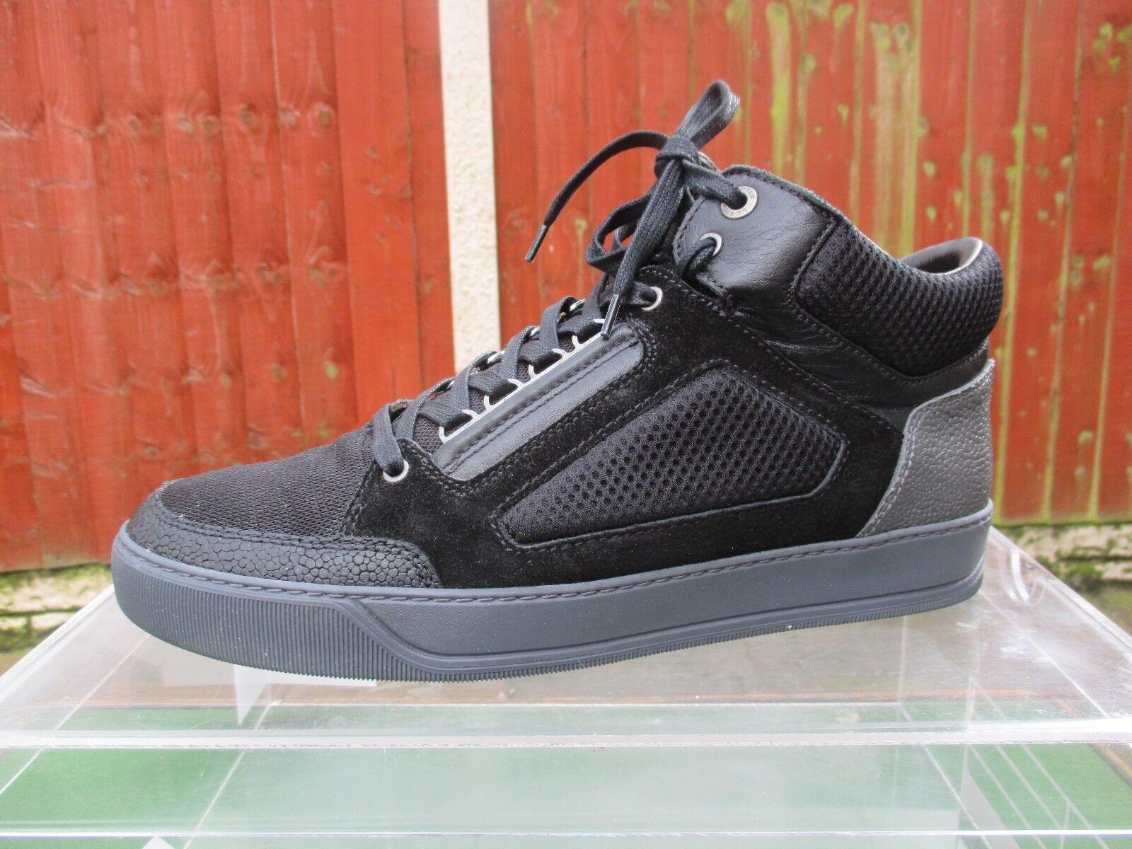 Malla de Cuero Genuino LANVIN con paneles Mid Top zapatillas &, Tenis Reino Unido 10