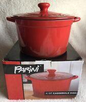 Parini 4 Qt Non-stick Stoneware 2 Tone Red Casserole Dish & Lid
