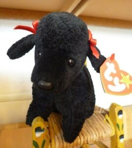 Ty Beanie Babies Gigi black poodle dog retired rare mint tag errors ... f6083b02e74a