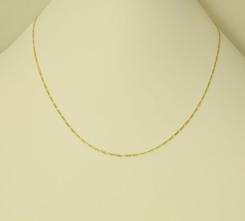 """14K Solid Real Yellow Gold Figaro Chain Necklace 1.2 mm 20/"""" 1//16 Baby Children"""