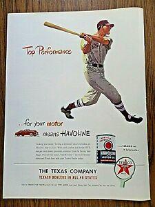 1947 Texas Texaco Havoline Oil Ad Top Performance Baseball Batter
