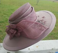 Champagne Italy Kentucky Derby Middleton Style Church Hat Wide Brim Mauve Purple
