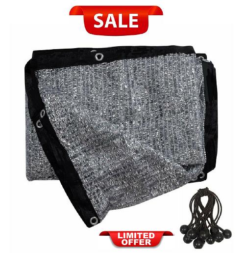 10Ft X 20Ft Fabric Sun Block Sun Shade 70/% Aluminet Cloth With 12 Ball Bungee