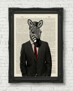 VINTAGE-DICTIONARY-BOOK-PAGE-ART-PRINT-ZEBRA-MAN-IN-CLOTHES-WALL-ART-ANIMAL
