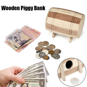 UK-Wooden-Piggy-Bank-Safe-Money-Box-Savings-Wine-Barrel-Wood-Carving-Handmade