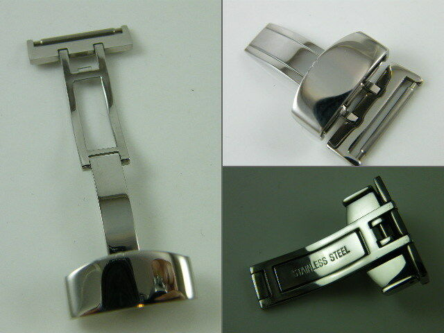 HQ 14~24 mm S.STEEL SILVER STRAP CLASP DEPLOYMENT BUCKLE FOR LEATHER WATCH BAND