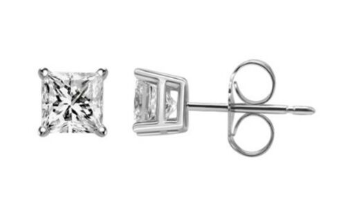 Princess Cut Natural Diamond Stud Earrings White Gold 14K .25  .33 .5  1.5 CT