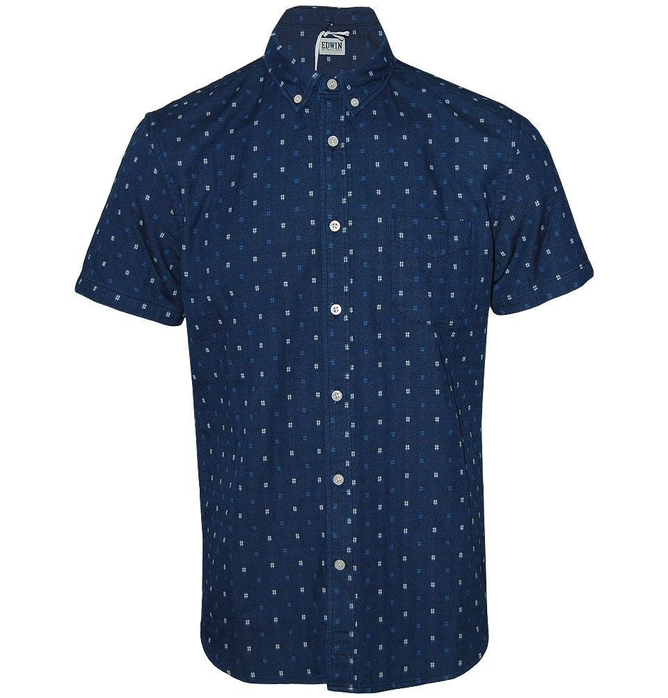 BNWT Edwin Classica Camicia Slim Indaco Blu Scuro sciacquare Medium