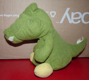 Vintage-Plush-Toy-Figurine-Tiny-Green-Crocodile-Alligator