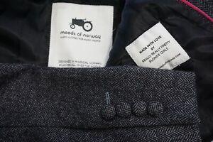 Moods of Norway Gray Herringbone Tweed 100% Wool Sport Coat Jacket Sz 40