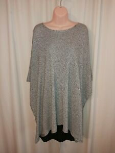 Eileen-Fisher-100-Tencel-Lyocell-Poncho-Two-Tone-Silver-M-L