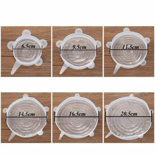 INSTA LIDS 6 Pack Silicone Stretch Suction Pot Lid Stopper Cover For Kitchen AP