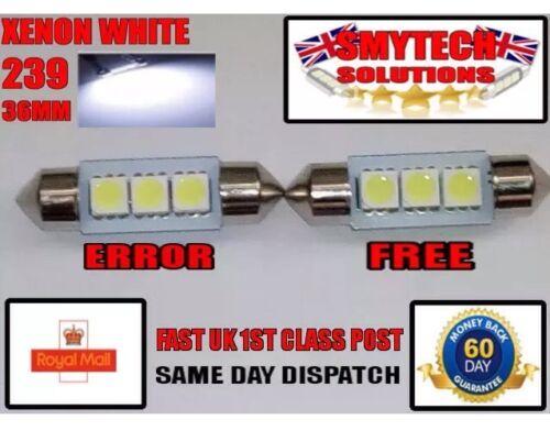 2x 3SMD 36mm LED Canbus Error White BMW E46 99-05 Number Plate Light Bulb .