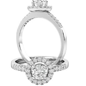 0.80 Ct Round Cut Moissanite Anniversary Ring 14K Solid White Gold ring Size 5 6