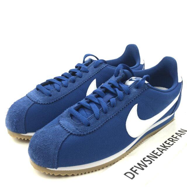 sale retailer d792f 0d5d9 Nike Classic Cortez Nylon Running Shoes Sneaker 807472-405 Blue Mens Size 9