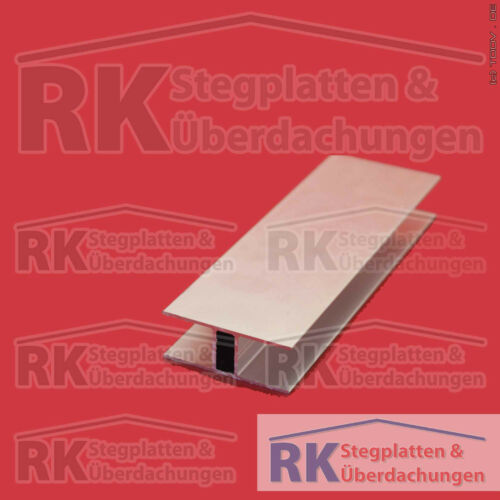 2100 mm lang T-Abschlussprofil für 16 mm Stegplatten Alu pressblank