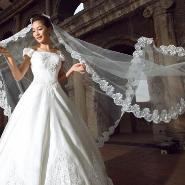 3 Meters Long Lace Edge Cathedral Wedding Gown Bridal White Tulle ...