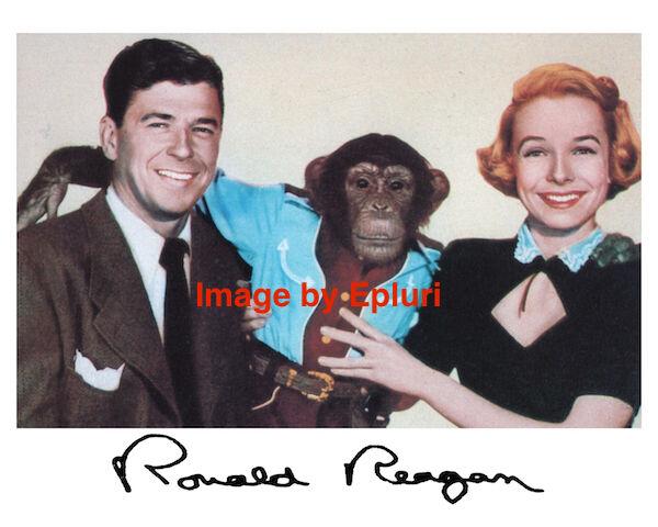 Ronald Reagan Bedtime for Bonzo Preprint Sign 8x10
