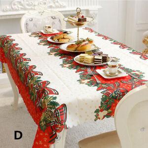 Christmas Table Cover Rectangle Printing Tablecloth For Household Decor Us Ship Ebay
