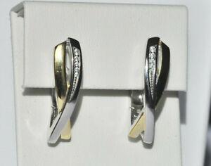 Echt-925-Sterling-Silber-Ohrringe-Creolen-vergoldet-Zirkonia-Hochzeit-Nr-212