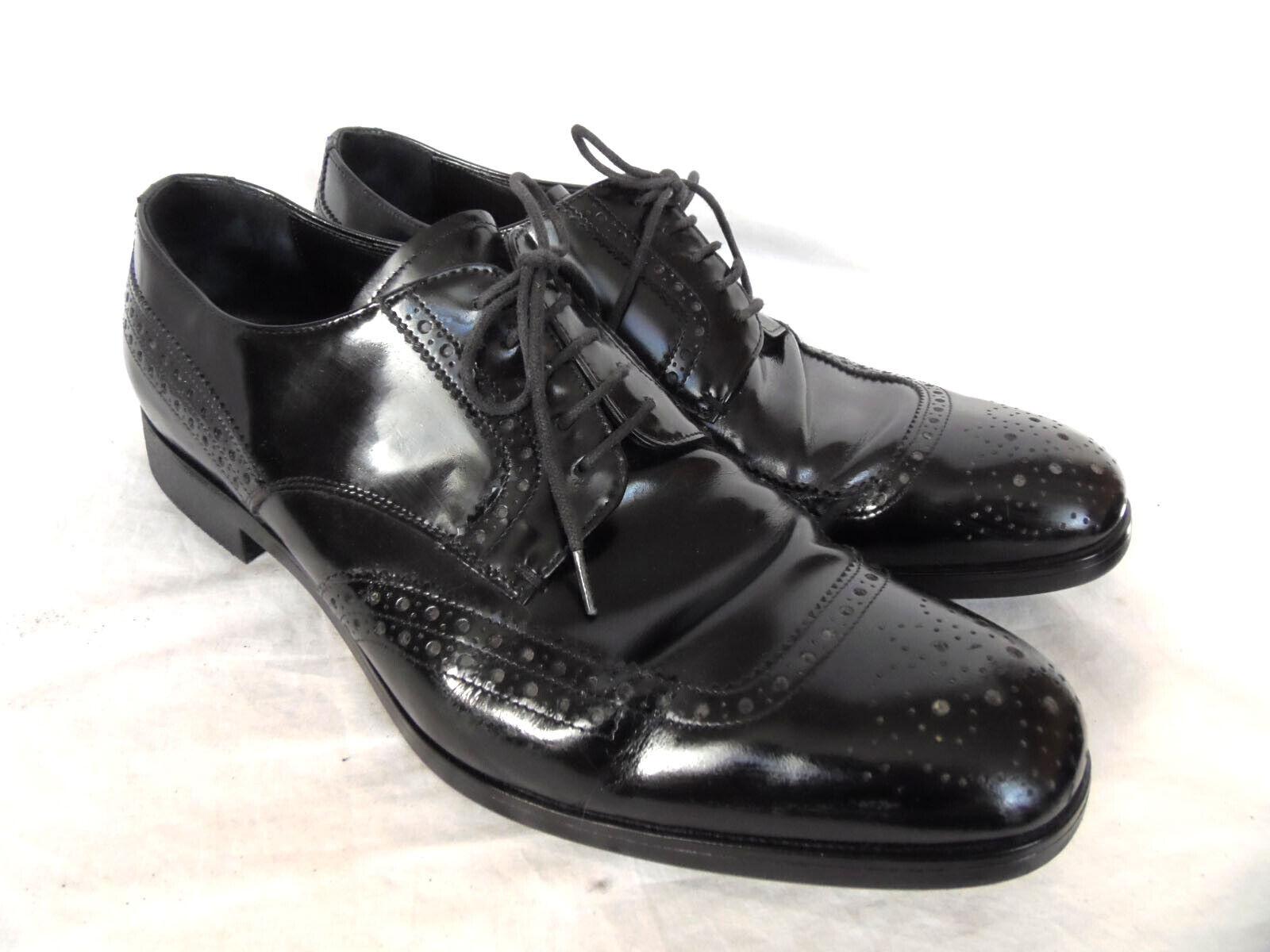 6737cb0a PRADA MILANO 100% AUTENTICOS ZAPATOS CORDONES NEGROS. 8 TALLA nbgtli9906- Zapatos de vestir
