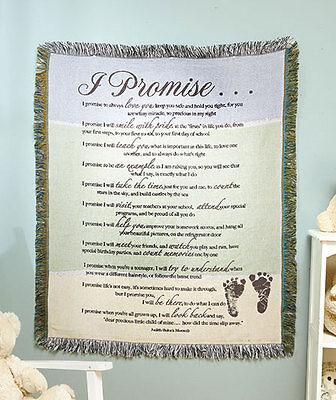 """New """"I Promise"""" Afghan Throw Blanket Nursery Baby Shower Gift Keepsake Heartfelt"""
