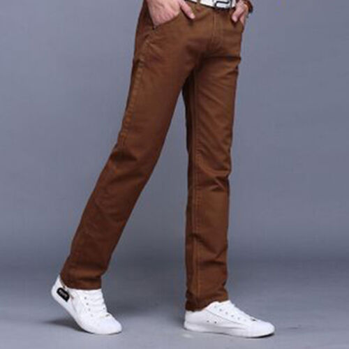 Mens Straight Leg Pants Chinos Casual Work Trousers Solid Bottoms Size 30-38