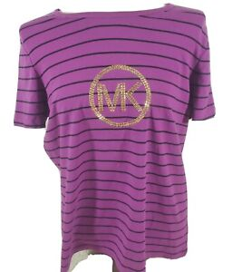 Michael-Kors-women-039-s-short-Sleeve-purple-Logo-Shirt-Knit-top-MK-bling-size-1X