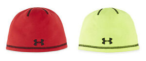 98a06f1a78d UNDER ARMOUR BOY S ELEMENTS 2.0 BEANIE SKI HAT HI VIS YELLOW RED ...