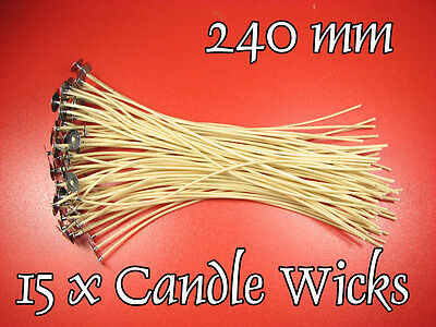 SALE - 40% !  15 x CANDLE Cotton WICKS, 240mm, PRE WAXED,  Stoppini per Candele