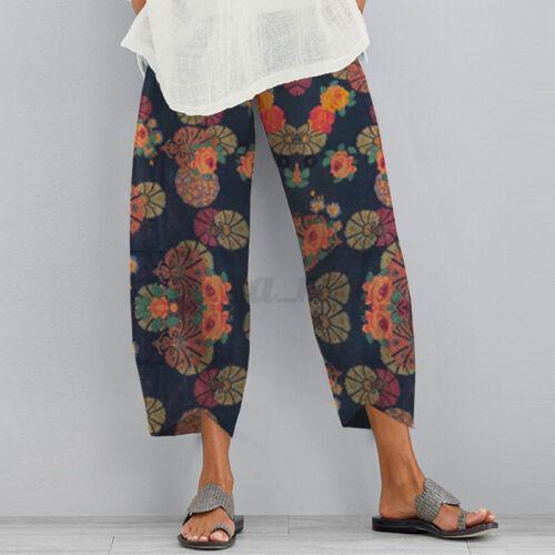 UK Women Casual Loose Elastic Waist Stripe Cotton Trousers Baggy Pants Plus Size