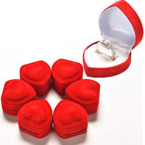 2xHerzform-Ring-rot-Liebe-amp-Herz-Aufbewahrungsbox-Schmuckschatulle-Display-Box-JA