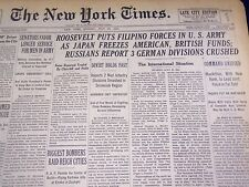 1941 JULY 27 NEW YORK TIMES - ROOSEVELT PUTS FILIPINO FORCES IN ARMY - NT 1468