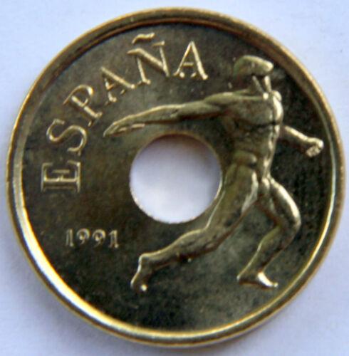 SPAIN JUAN CARLOS I 25 PESETAS 1991 KM-850 DISCUS MINT ROLL